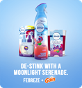De-stink with a moonlight serenade. Febreze + Gain