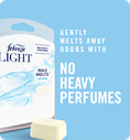 Gently melts away odors with no heavy perfumes